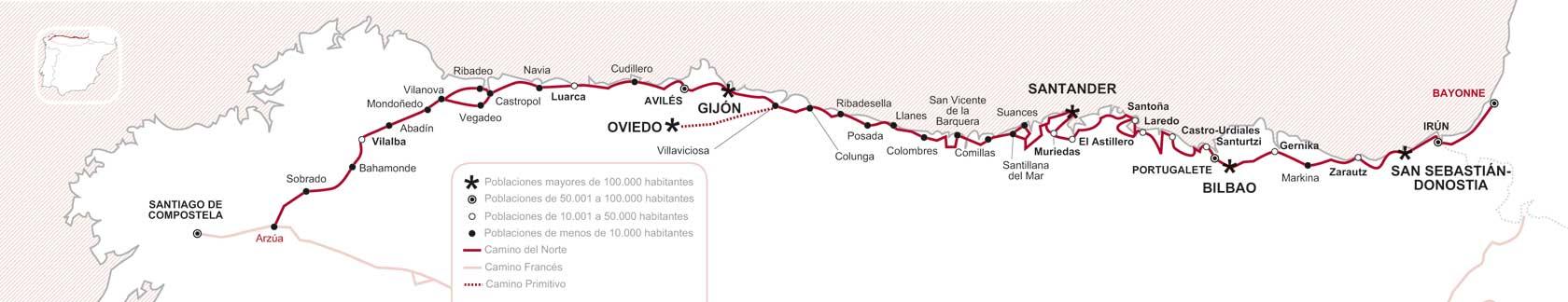Mapa Norte España Costa.Norte Camino Del Xacopedia